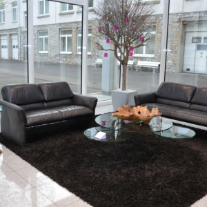 schale-steinzeit-und-tisch-eichenfuss-im-foyer-der-firma-wila